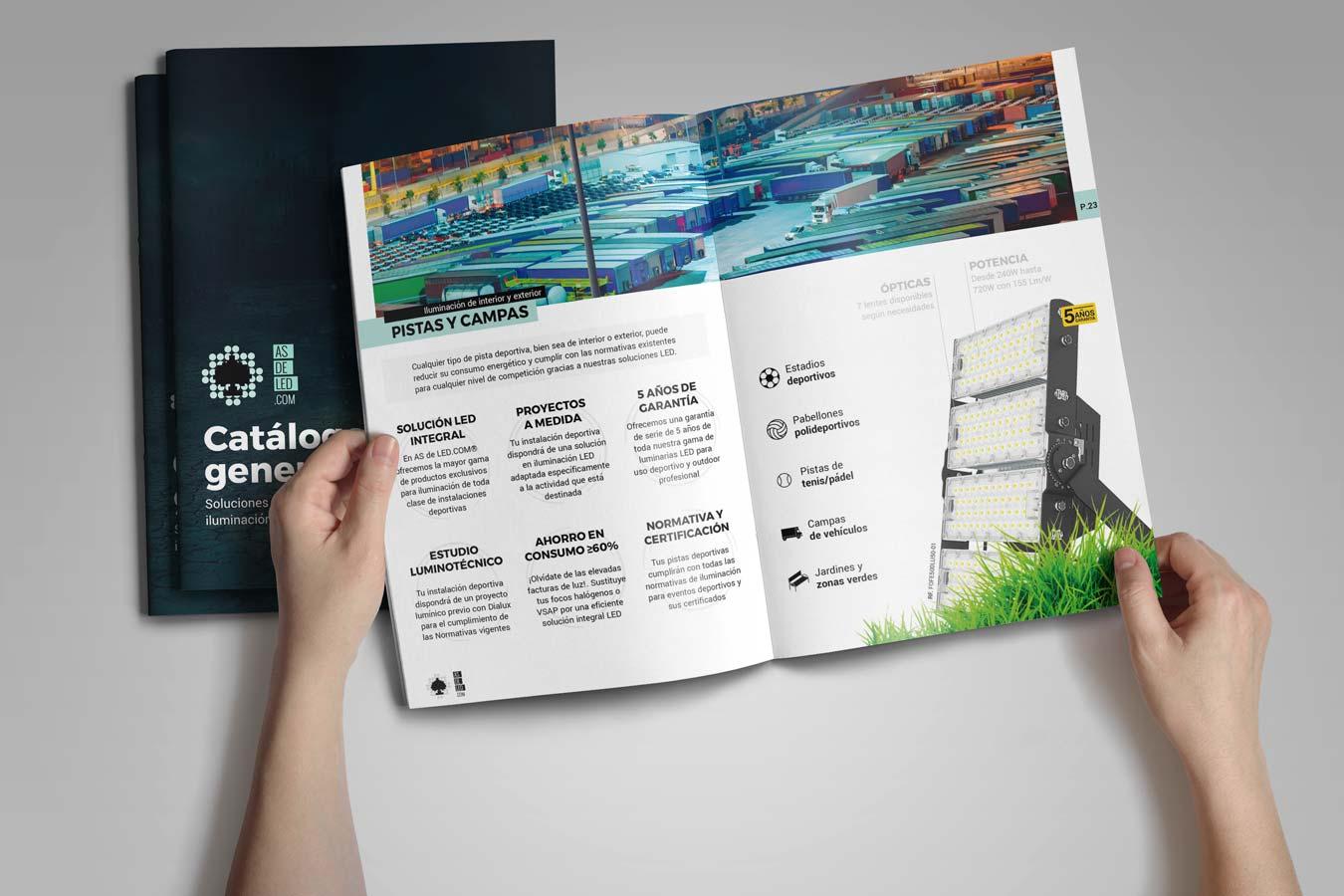 Mockup catalogo de iluminacion LED 2020-21 en formato PDF